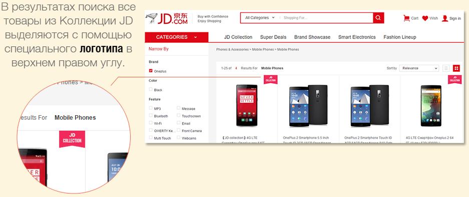 JD коллекция - определение товара по специальному логотипу.